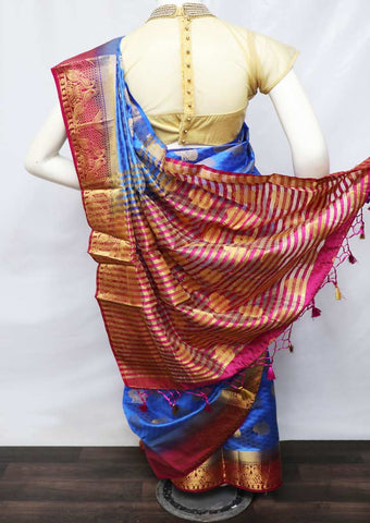 Blue With Pink Semi Raw Silk Saree - HBN0004 ARRS Silks