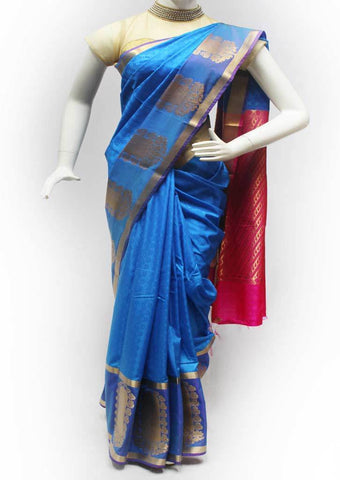 Blue with Pink Semi Silk Saree- FL64686 ARRS Silks