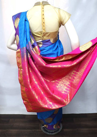 Blue with Pink Semi Silk Saree - FS33076 ARRS Silks