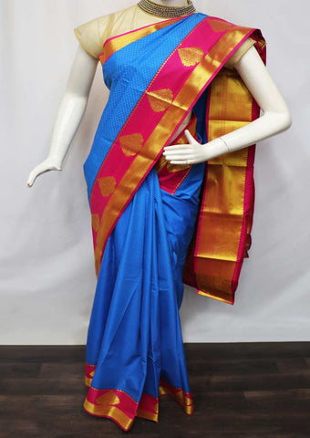 Blue with Pink Semi Silk Saree  - GB32875 ARRS Silks