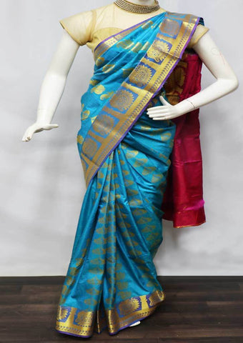 Blue With Pink Semi Silk Saree  - GB85900 ARRS Silks