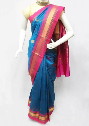 Blue with Pink Silk Cotton Saree - FR123236 ARRS Silks