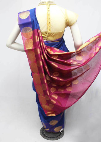 Blue with Pink Silk Cotton Saree - FR123656 ARRS Silks