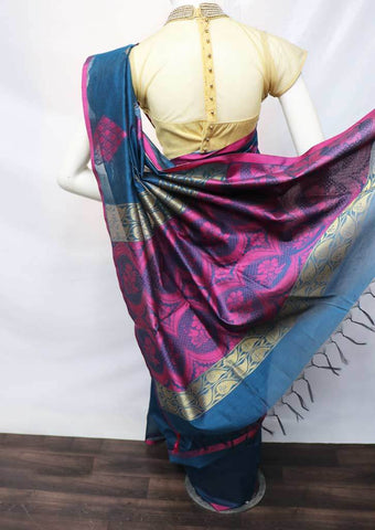 Blue with Pink Silk Cotton Saree - FU21575 ARRS Silks