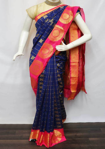 Blue with Pink Silk Cotton Saree - FV30582 ARRS Silks