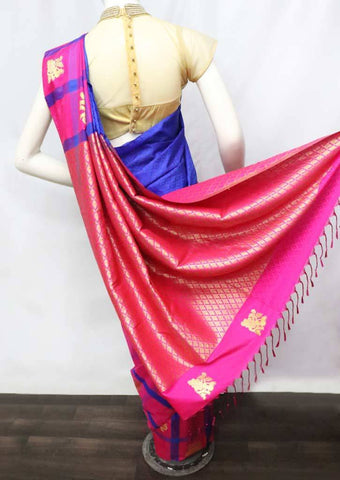 Blue with Pink Soft Semi Silk Saree - FU27726 ARRS Silks