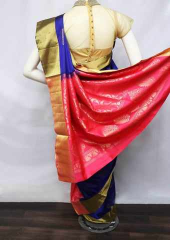Blue With Pink Soft Silk Saree - FU45165 ARRS Silks