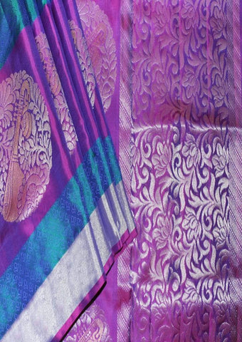 Blue With Pink Violet Mayuri Soft Silk Saree-FL87168 ARRS Silks