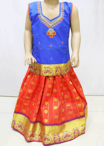 Blue with Red  Pattu Pavadai -FN5284 (Size : 4 Years ) ARRS Silks