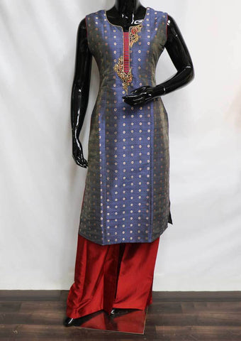 Blue With Red Plazo Readymade Salwar- FR56956 ARRS Silks