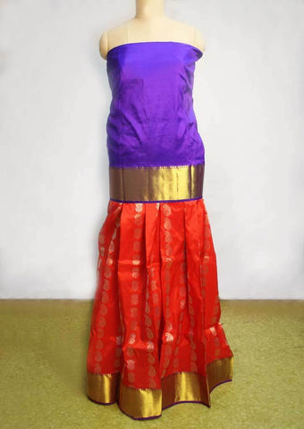 Blue With Red Pure silk pavadai - FI10796 ARRS Silks