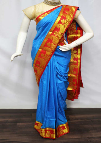Blue With Red semi silk saree  - FV2485 ARRS Silks