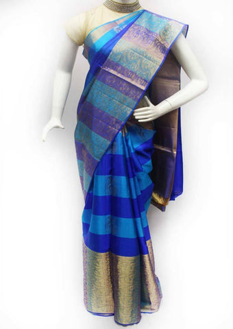Blue with Sky Blue Soft Silk Saree - FQ39007 ARRS Silks