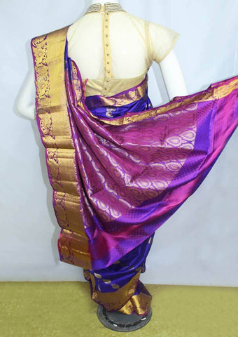 Blue With Violet Kanchipuram Silk Saree-FN38128 ARRS Silks