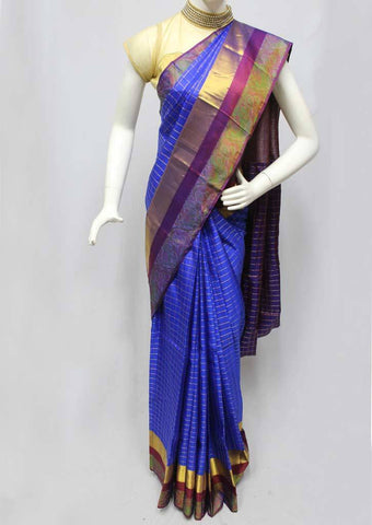 Blue with Violet Kanchipuram Silk Saree - FQ22808 ARRS Silks