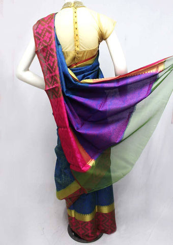 Blue with Violet Organza Cotton Sarees- FQ135693 ARRS Silks