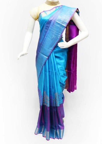 Blue with Violet Soft Silk Saree - FA3792 ARRS Silks