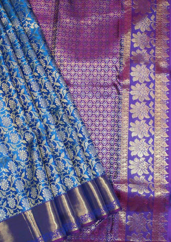 Blue with Violet Wedding Silk Saree - EB10983 ARRS Silks