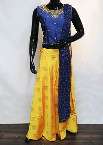 Blue with Yellow Crop Tops - FV8280 ARRS Silks