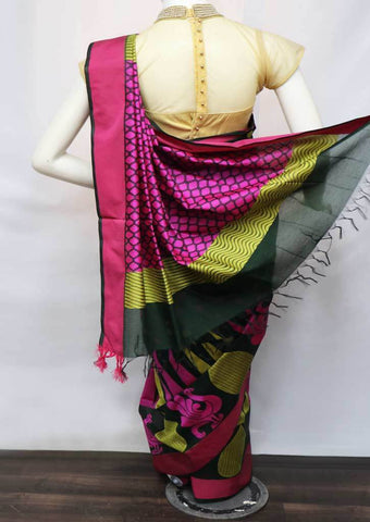 Bottel Green with Pink Silk Cotton Saree - 9KA6677 ARRS Silks