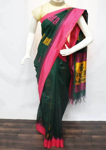 Bottel Green with Pink Silk Cotton Saree - FU21438 ARRS Silks