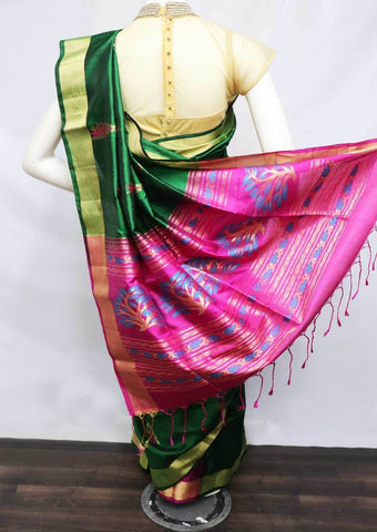 Bottel Green  With Pink Soft Silk Saree - FT55915 ARRS Silks