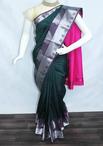 Bottle Green with pink Semi Silk Saree- FO39048 ARRS Silks