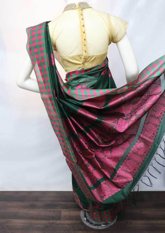 Bottle Green With Pink Silk Cotton Saree - FO1930 ARRS Silks