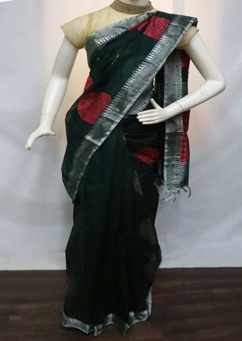 Bottle Green with Pink Silk Cotton Saree - GE21120 ARRS Silks