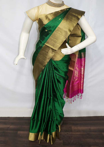 Bottle Green With Pink Soft Silk Saree - FQ38513 ARRS Silks
