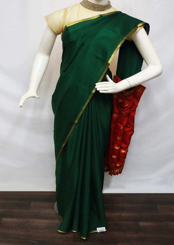 Bottle Green With Red Mysore Silk Saree - GA13168 ARRS Silks