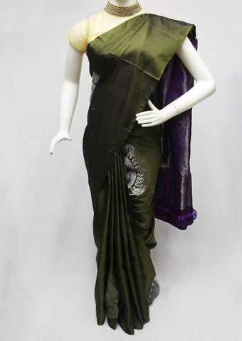 Bottle green With Violet Soft Silk Saree -FQ111176 ARRS Silks