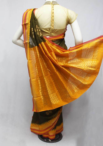 Bottle green with Yellow Silk Cotton Saree - FP44747 ARRS Silks