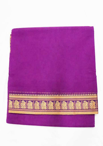 Bright Violet Pure Cotton 9.5 yards Saree - FT13325 ARRS Silks