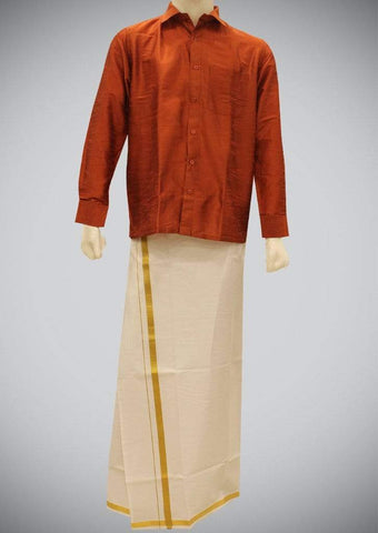 Brown Full Hand Silk Cotton ARRS Silks