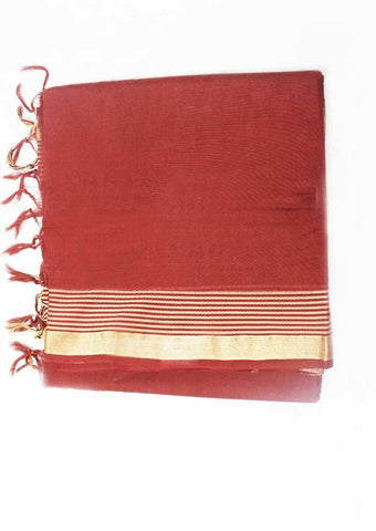 Brown Pure Cotton 9.5 yards Saree - FN6781 ARRS Silks