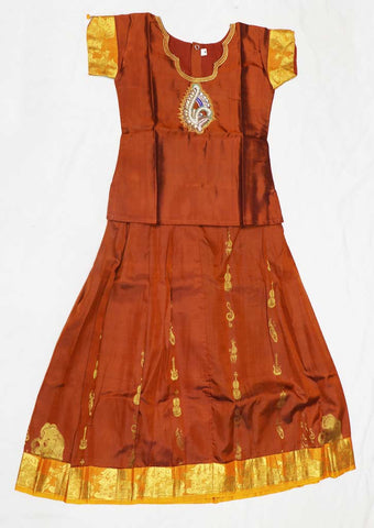 Brown Pure silk Stitched pattu pavadai - DZ3503 ( Age-4 years) ARRS Silks