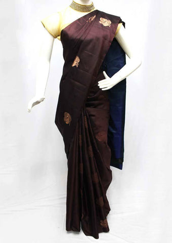 Brown with Blue Soft Silk Saree -FQ111144 ARRS Silks