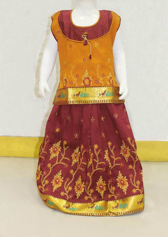 Brown With Maroon Pattu Pavadai -FO21176 ARRS Silks
