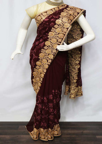 Brown With Naval Shade Color Designer Saree - FR16774 ARRS Silks