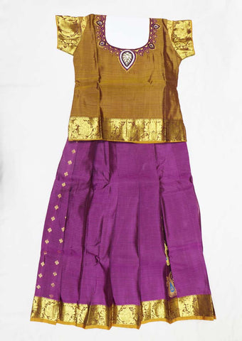 Brown With Pink Pure silk Stitched pattu pavadai - FX12486 ( Age-4 years) ARRS Silks Salem