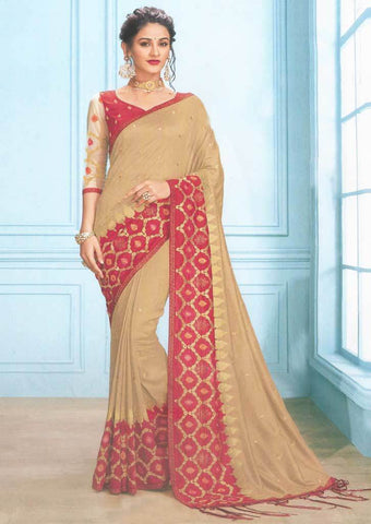 Brown with Red Designer Saree-FS7576 ARRS Silks