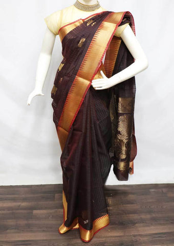 Brown with Red Shade Silk Cotton Saree - HBN7798 ARRS Silks