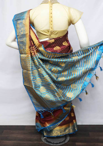 Brown with Sky Blue Semi Raw Silk Saree - HBN0002 ARRS Silks