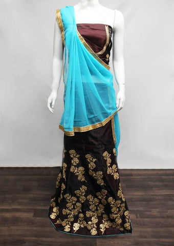 Brown with Skyblue Lehenga - FC6060 ARRS Silks