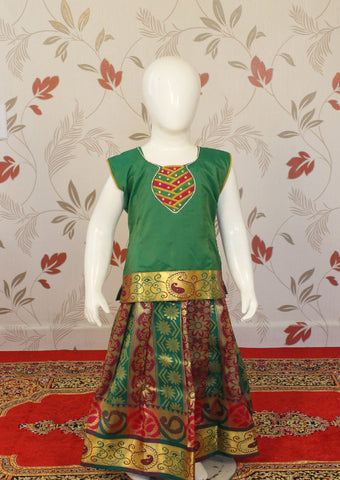 Green Multi Top Art Silk Pavadai
