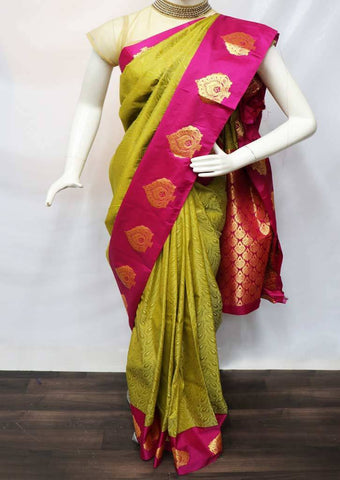 Cardamom color with Pink Semi Silk Saree - FV2482 ARRS Silks
