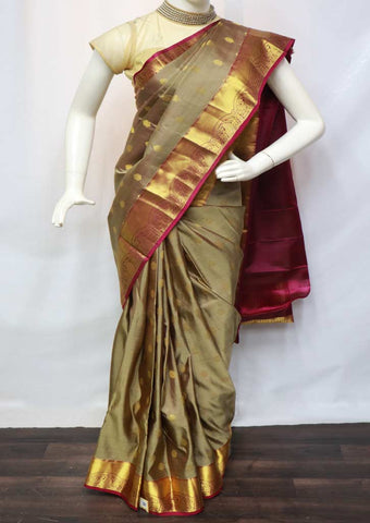 Cardamom color with Violet Kanchipuram Silk Saree - GE44755 ARRS Silks