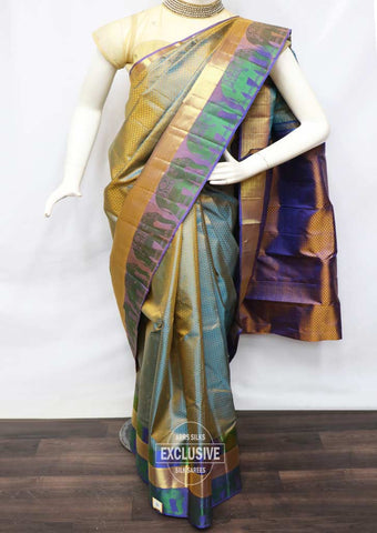 Cardamom Color With Violet Wedding Silk Saree - FR126298 ARRS Silks