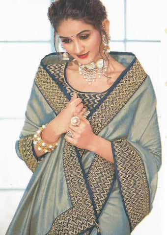 Cardamom with Navy blue Designer Saree-FS7563 ARRS Silks